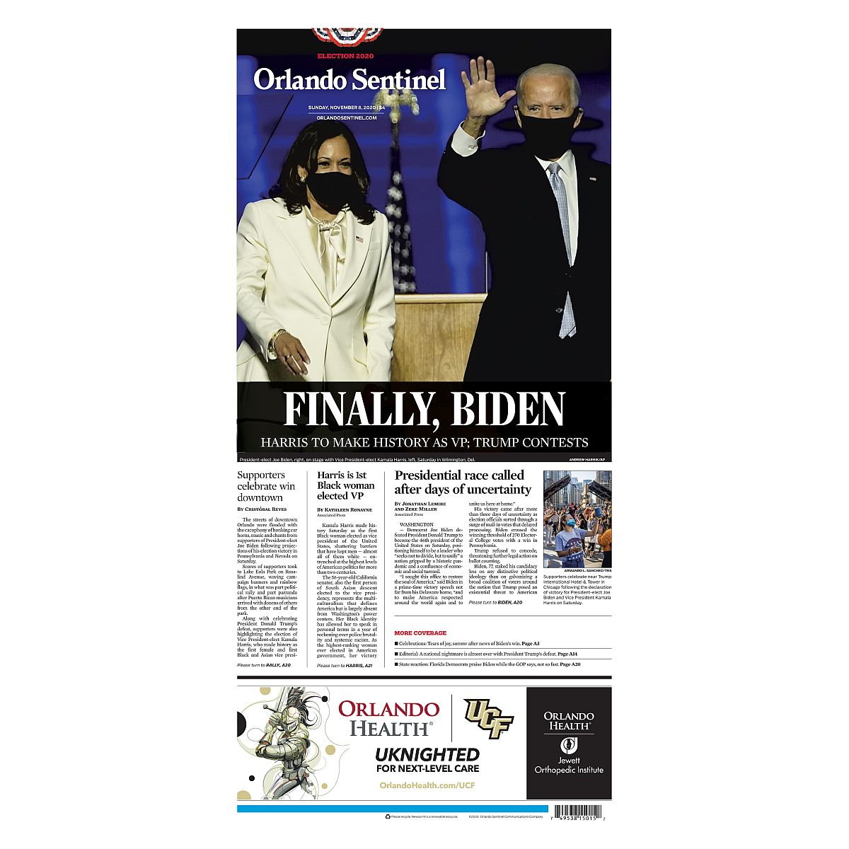 """Finally, Biden"" 11/8/2020 Back Issue"