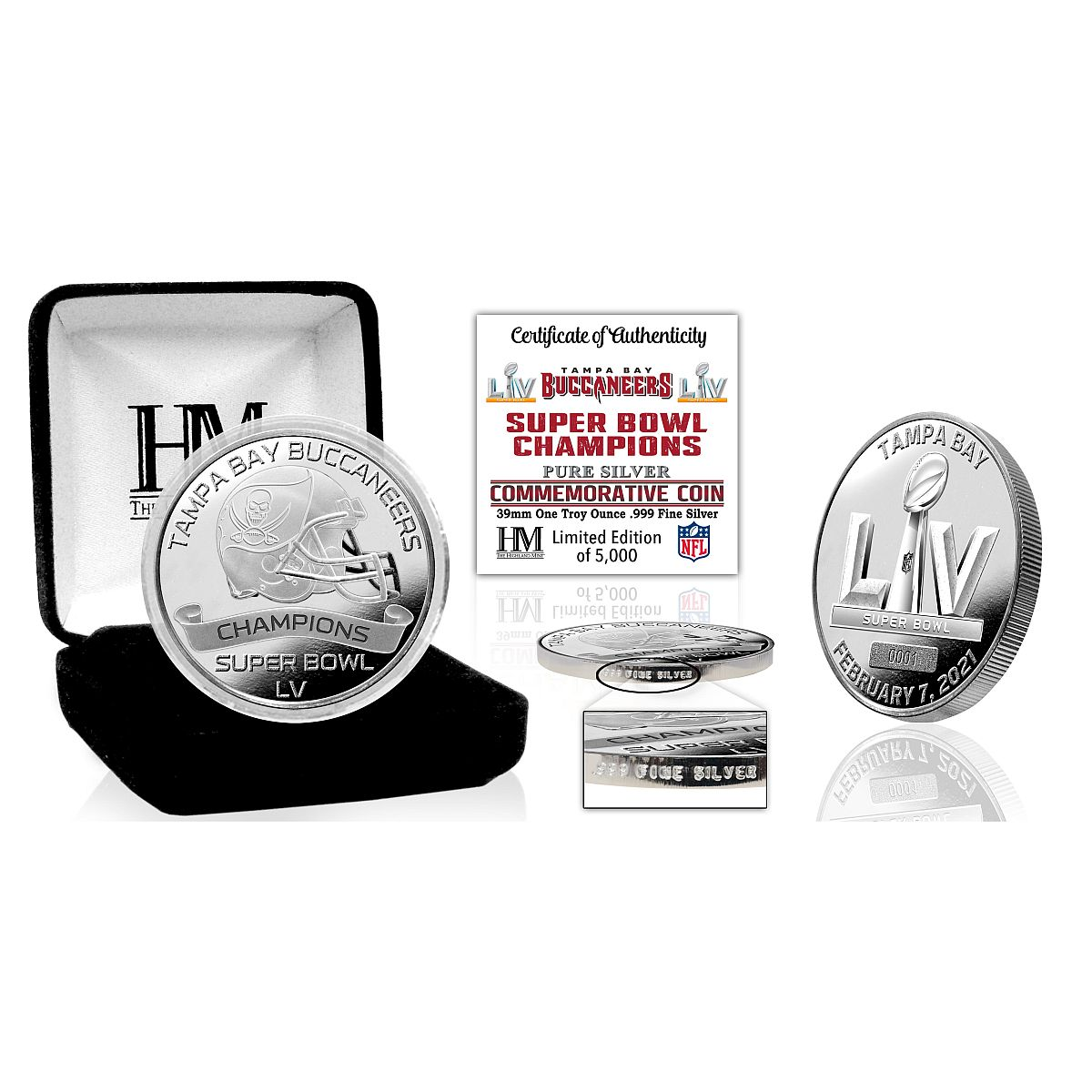 Tampa Bay Buccaneers Super Bowl 55 Champions 1oz .999 Fine Silver Mint Coin