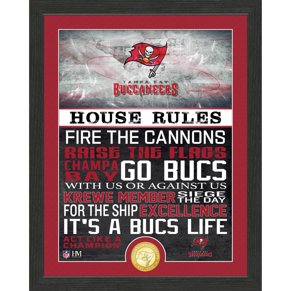 Tampa Bay Buccaneers House Rules Bronze Coin Photo Mint