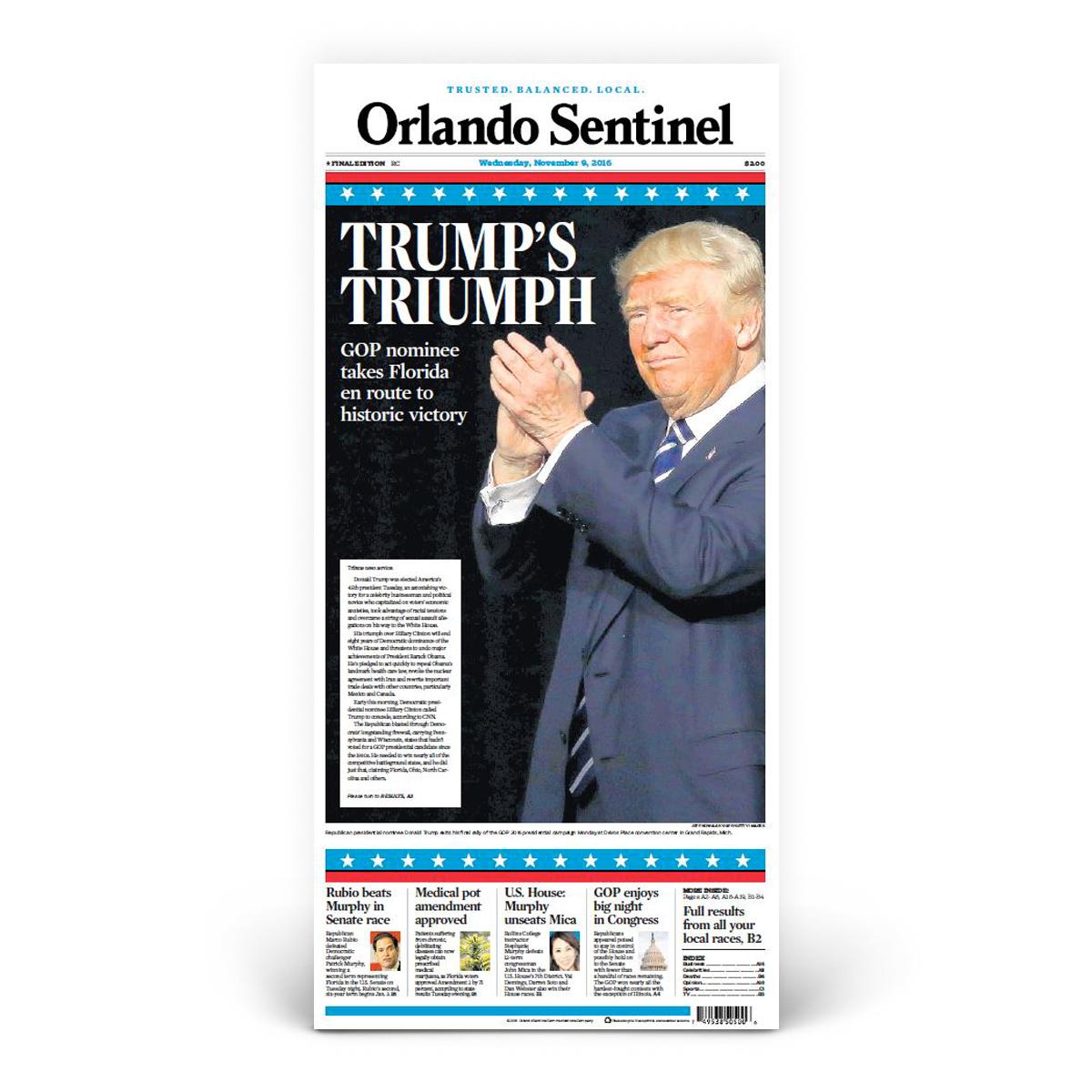 """Orlando Sentinel 11/9/2016 """"Trump's Triumph"""" Front Page Poster"""