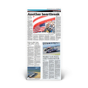 """Daytona 500 2015: Front Page Reprint """"Another Heartbreak"""""""