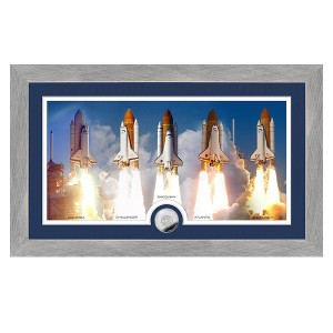Space Shuttle Program Shuttle Launch Panoramic Silver Coin Photo Mint
