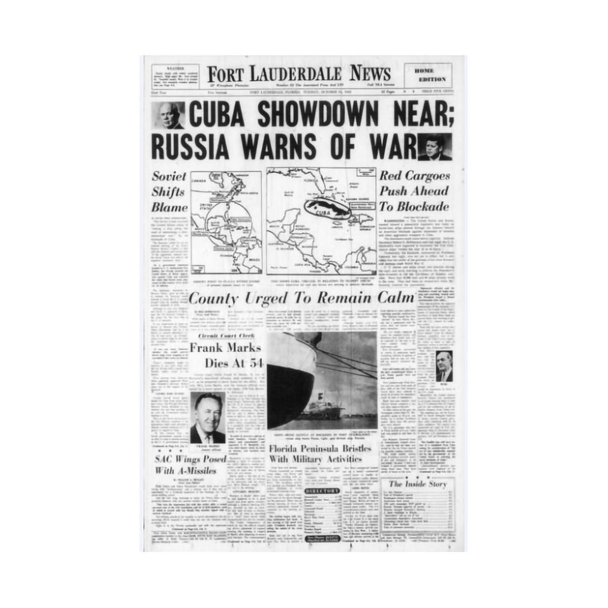 "Commemorative Front Page: ""Cuba Showdown"""