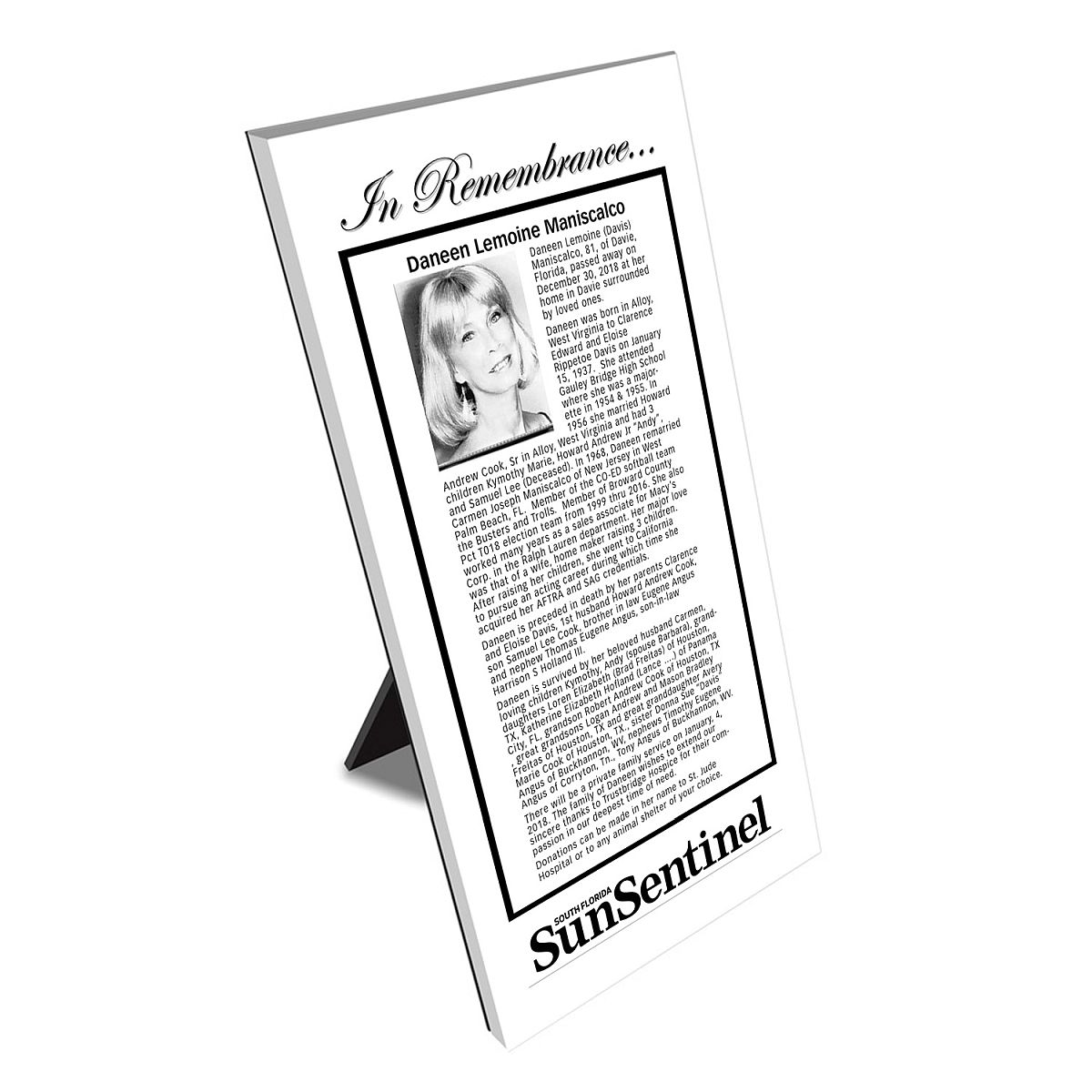 Sun Sentinel Keepsake Obituary Plaque