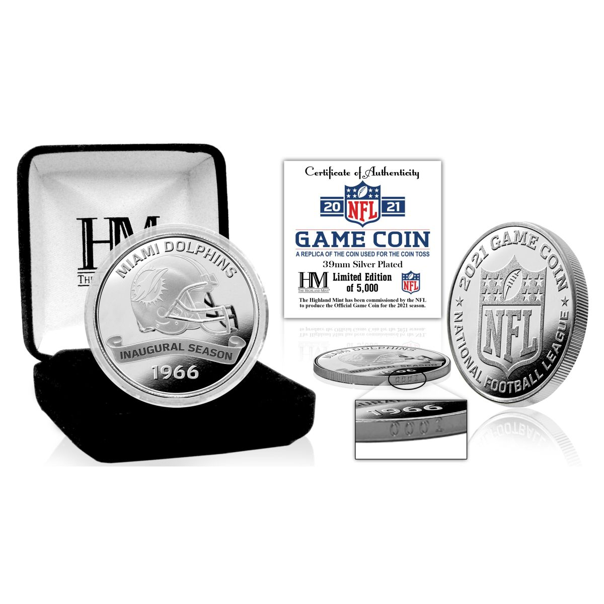 Miami Dolphins 2021 Silver Mint Game (Flip) Coin