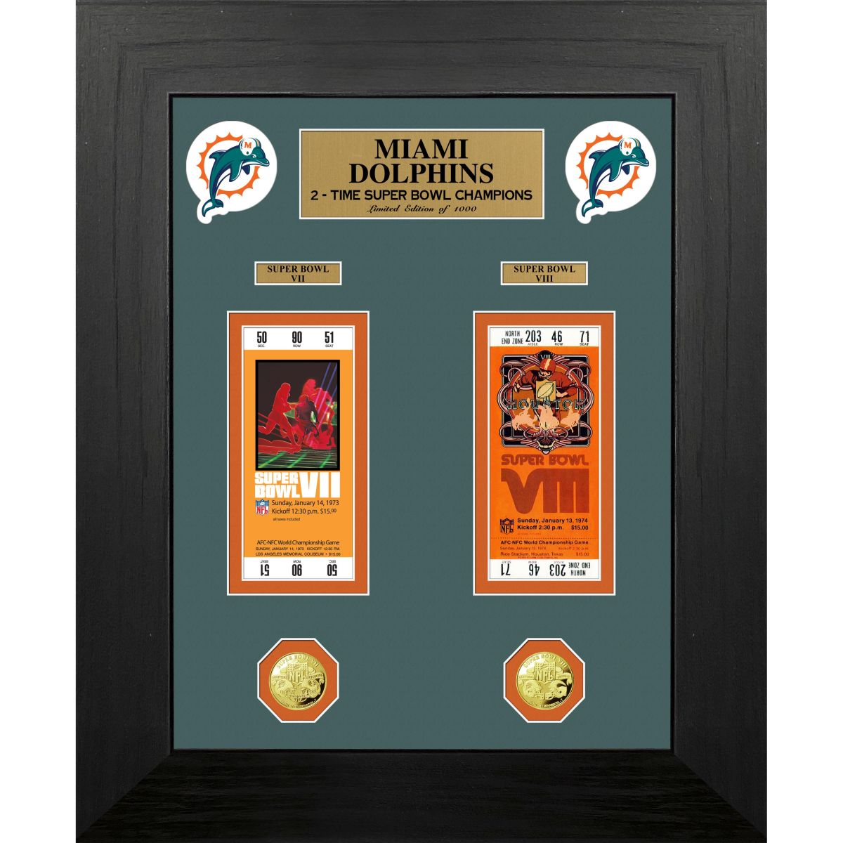 Miami Dolphins Super Bowl Champions Deluxe Gold Coin & Ticket Collection