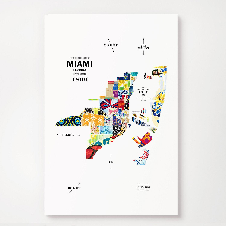 Miami Map Print Poster