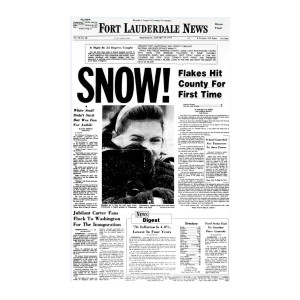 "Commemorative Front Page: ""Flakes Hit County for First Time"""