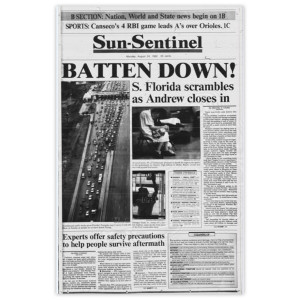 "Commemorative Front Page: Hurricane Andrew ""Batten Down!"""