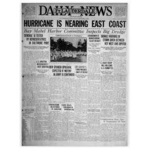"Commemorative Front Page: ""Hurricane is Nearing East Coast"""