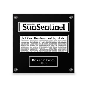 Sun Sentinel Custom Article Print Plaques