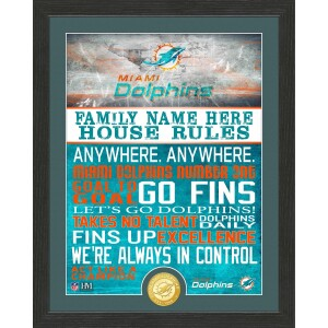 Personalized Miami Dolphins House Rules Bronze Coin Photo Mint
