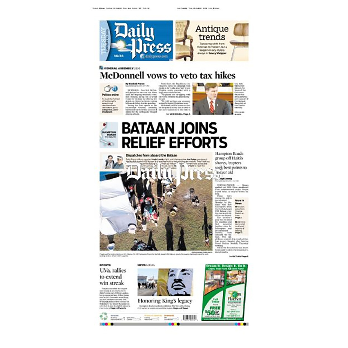 Commemorative Front Page: Aid Service to Haiti