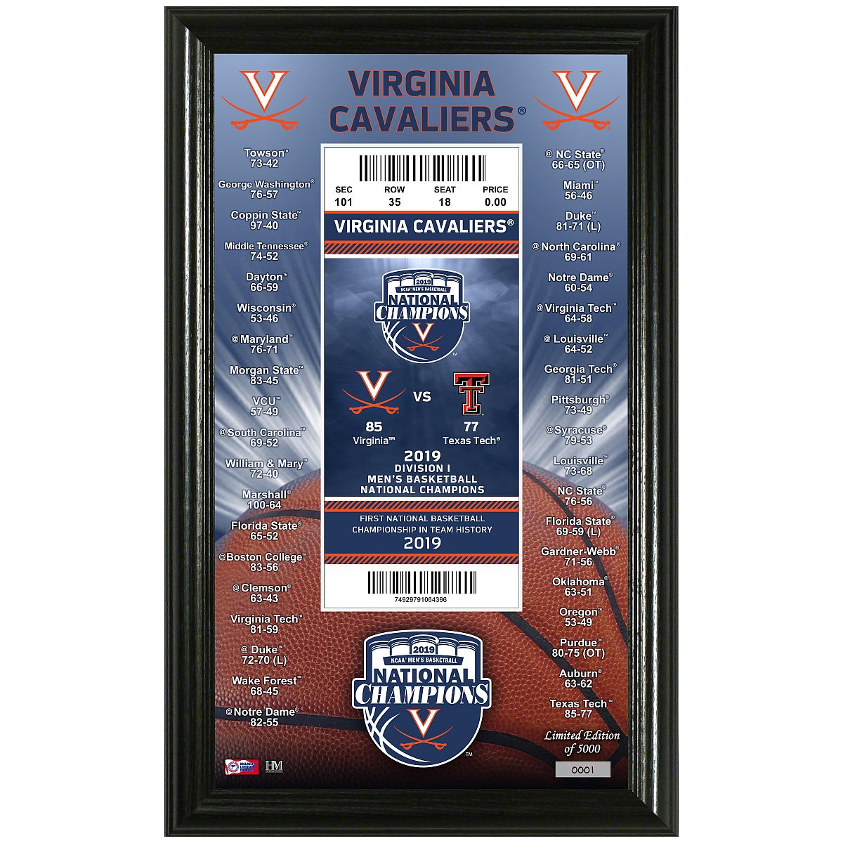 University of Virginia 2019 NCAA Men's Basketball National Champions Ticket Pano