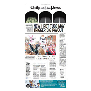 "Daily Press 1/22/2017 ""'Local Women Lend Voices to Protest"" Women's March Front Page Poster"