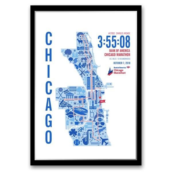 3556e0236 2018 Personalized Bank of America Chicago Marathon Icons Map Personalized  Print