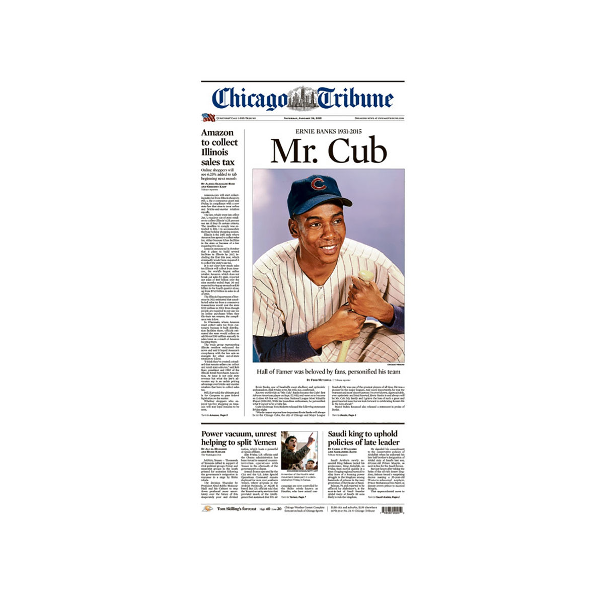 Commemorative Front Page: Ernie Banks 1931-2015