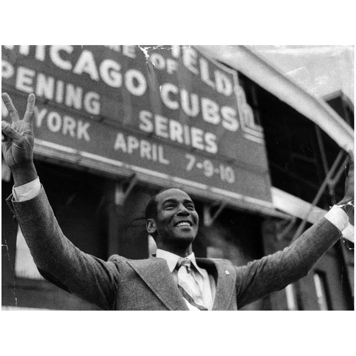 Ernie Banks Wrigley Field Victory Photograph