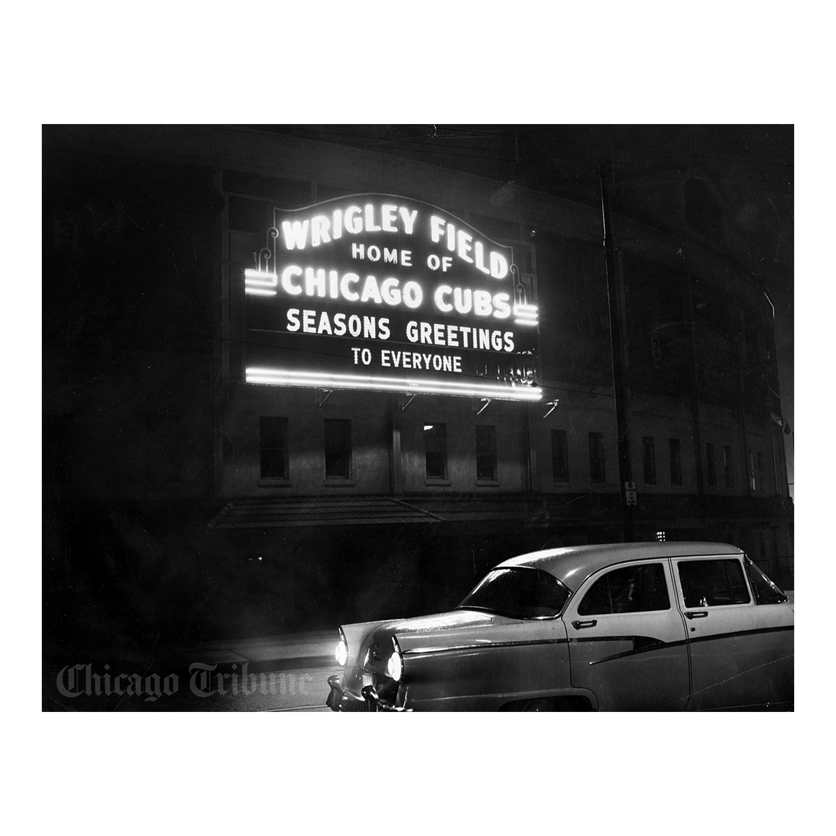 1950's Seasons Greetings from Wrigley Field Photo