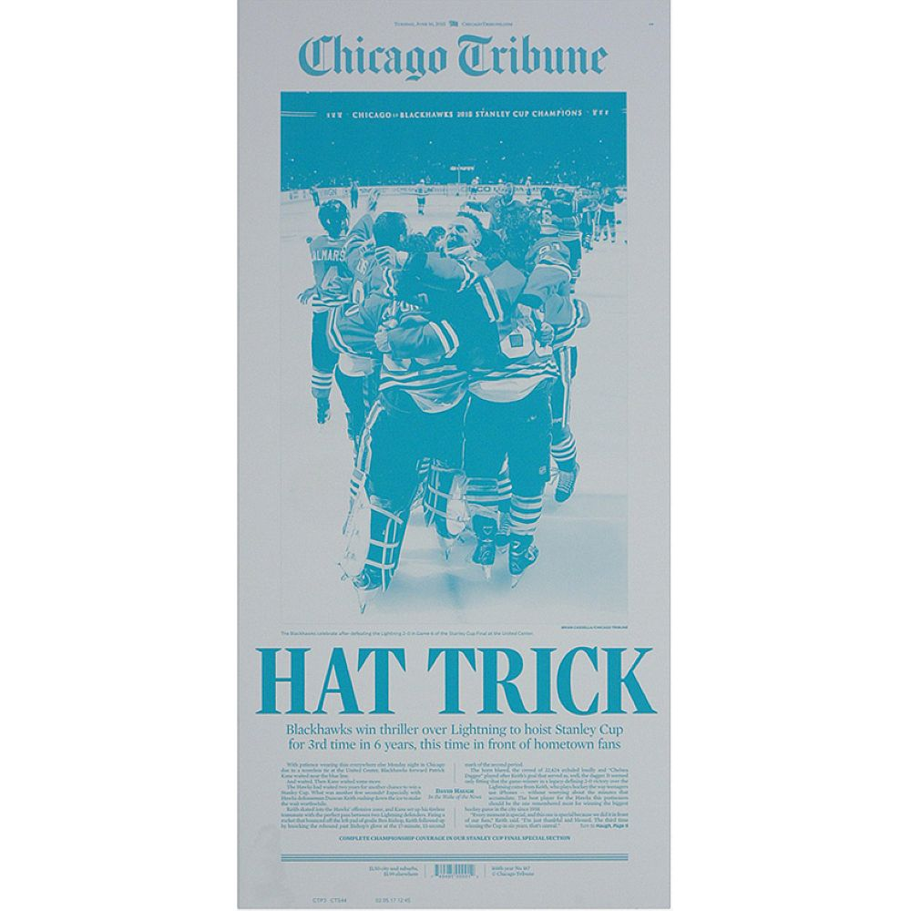 "Chicago Blackhawks 6/16/2015 Stanley Cup ""Hat Trick"" Press Plate"