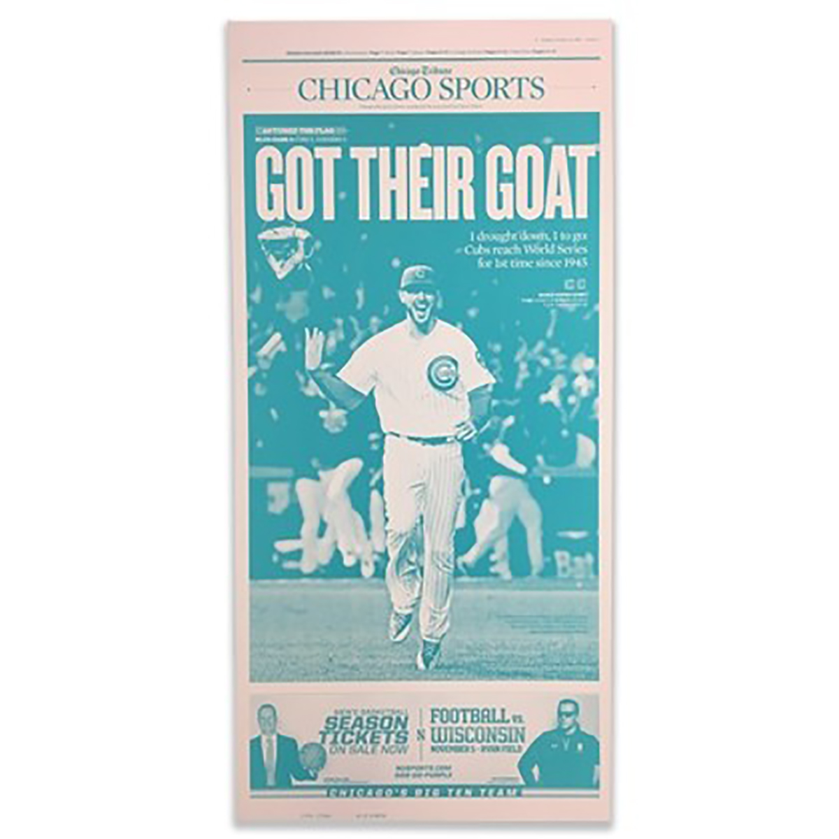 Chicago Cubs 'Got Their Goat' NLCS 10/23/2016 Sports Front Page Press Plate