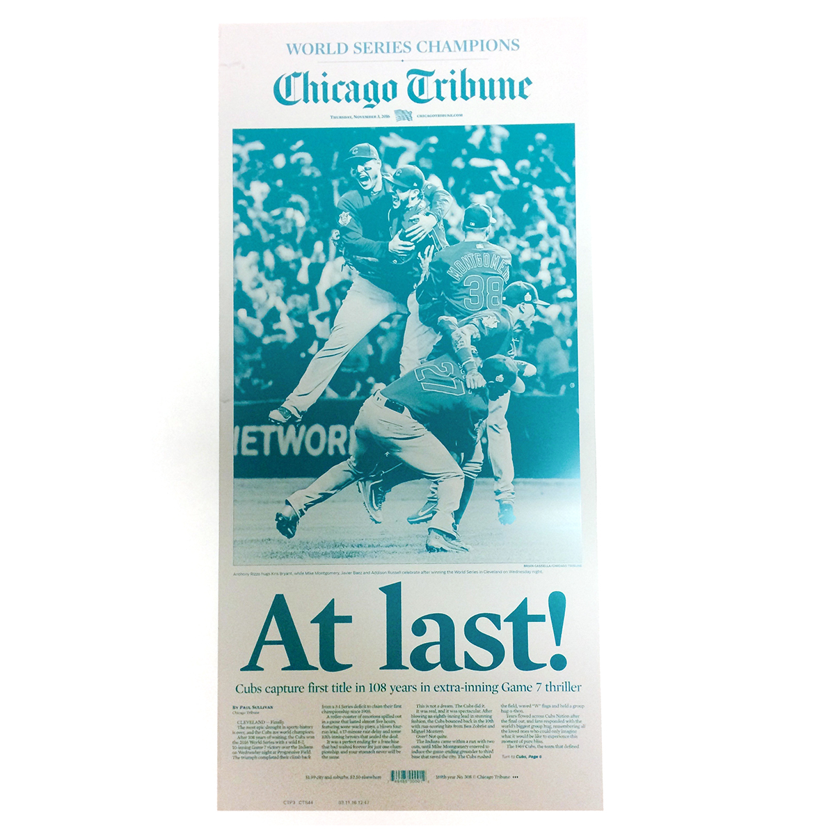 Chicago Tribune 11/3/2016 Chicago Cubs World Series Championship Press Plate