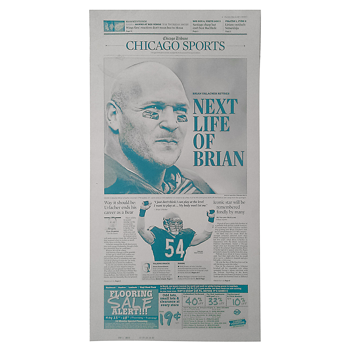 """Next Life of Brian"" Urlacher Retires Tribune Cover Press Plate"