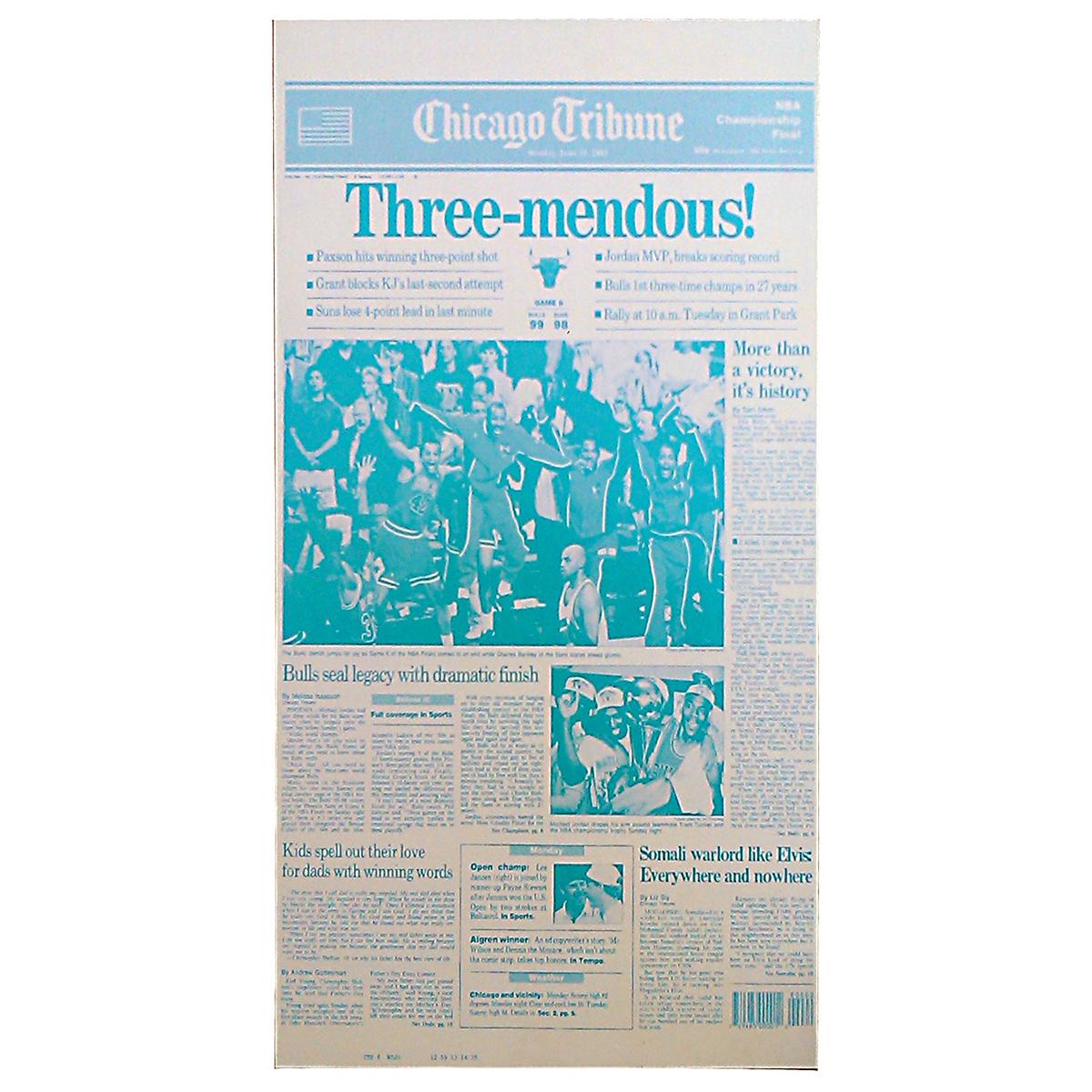 """Three-mendous!"" Third Chicago Bulls Championship Press Plate"