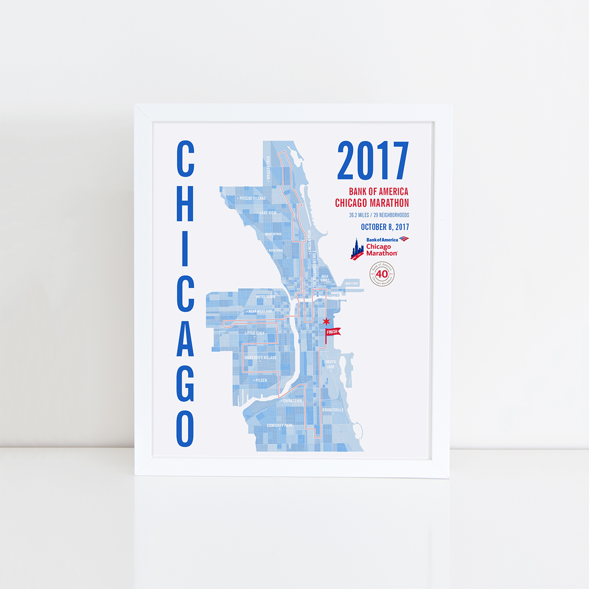 2017 Bank of America Chicago Marathon Pixel Map Print