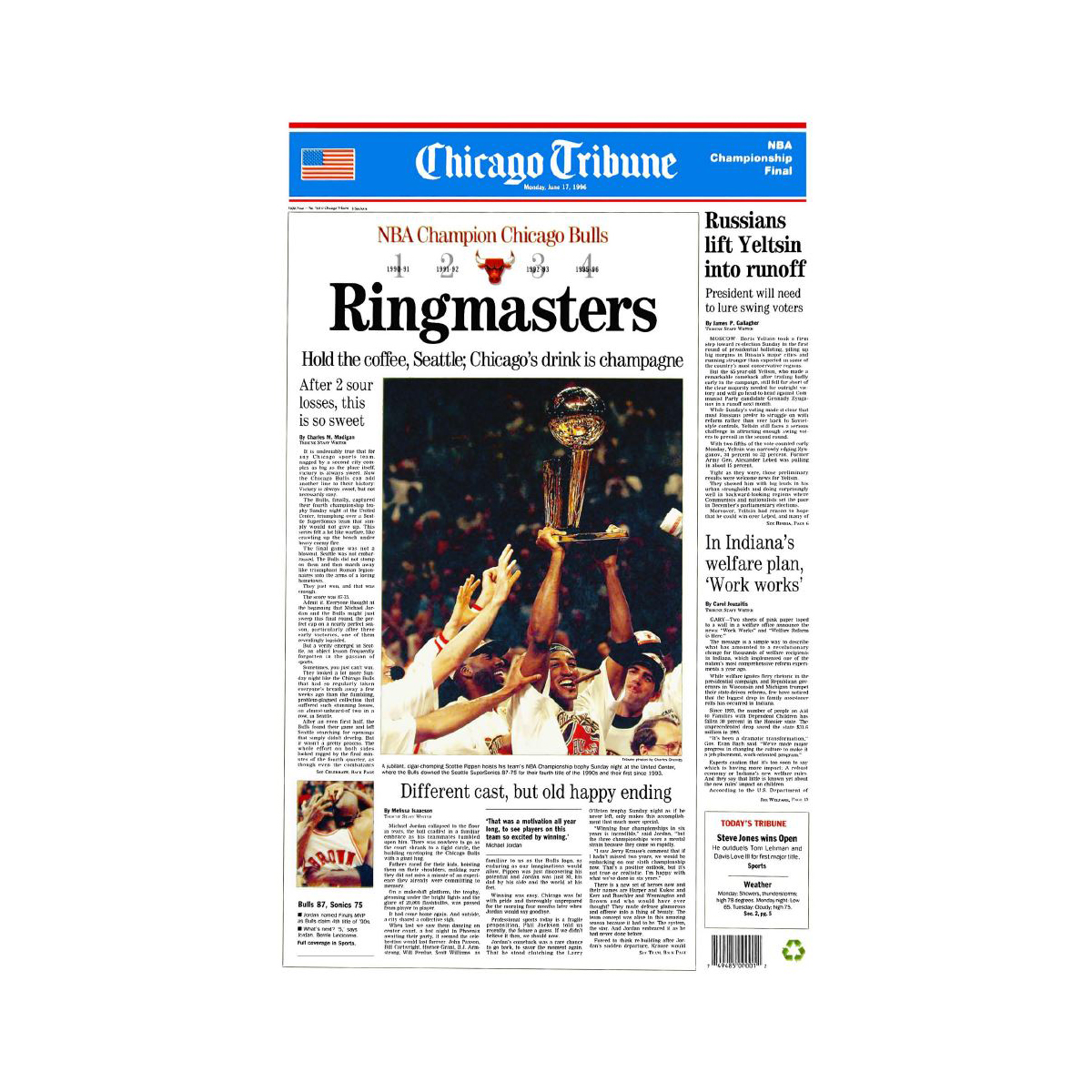 "Chicago Bulls 1996 Championship Win ""Ringmasters"" Front Page"