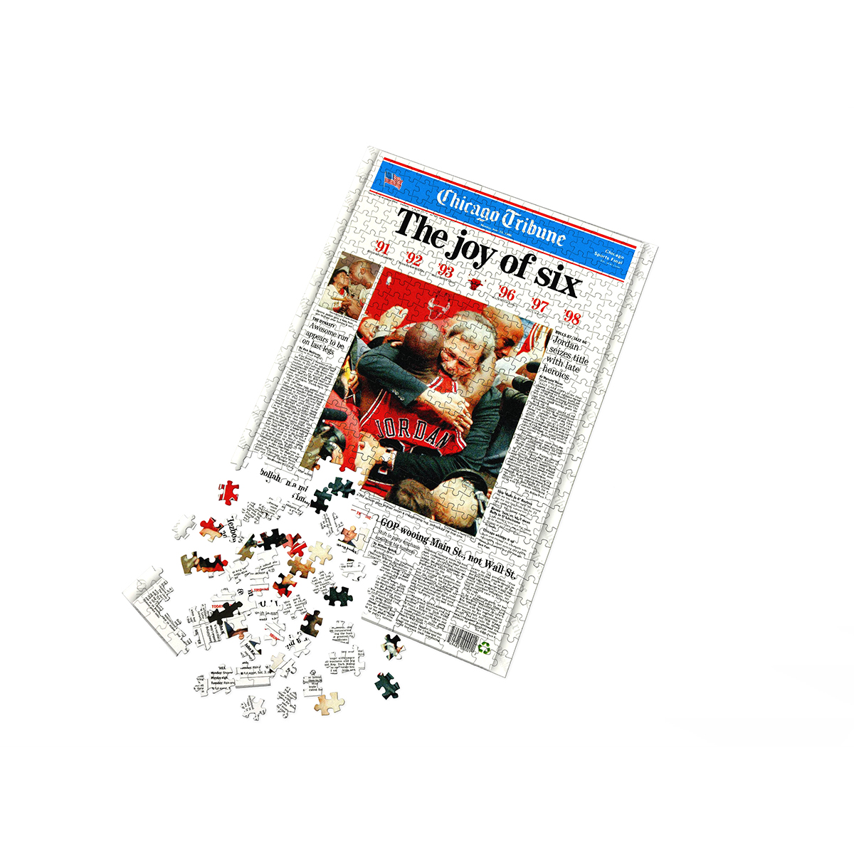 "Chicago Bulls 1998 NBA Championship ""The Joy Of Six"" Front Page Jigsaw Puzzle"