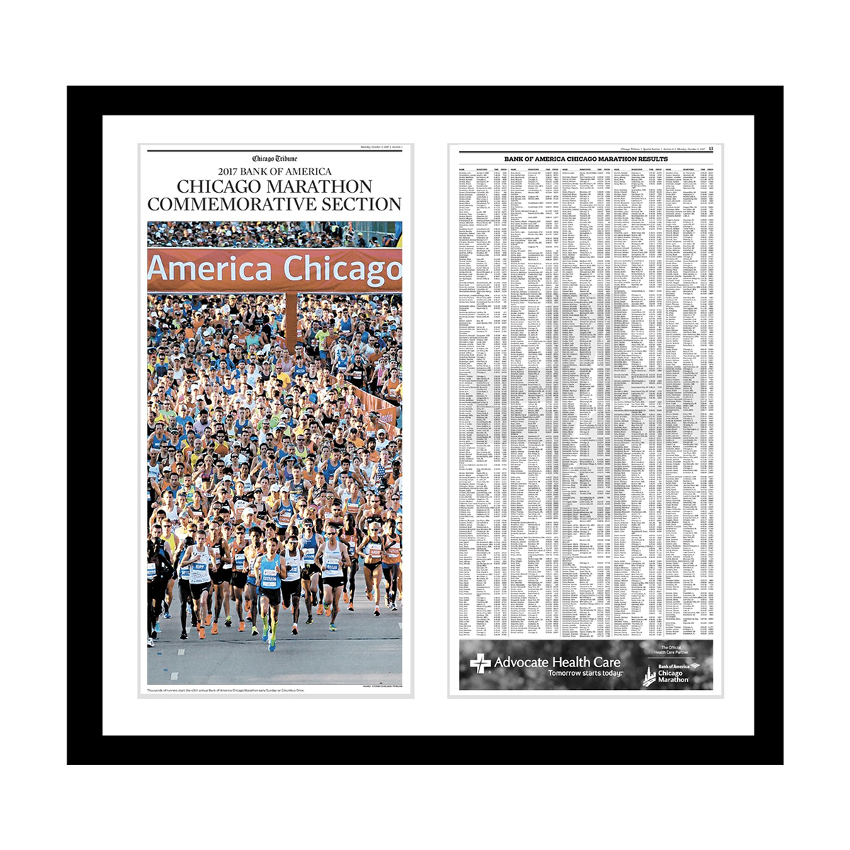 Chicago Marathon Commemorative Results Print