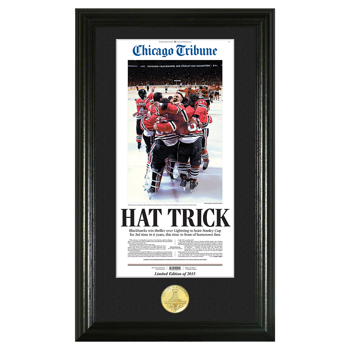 "Blackhawks 2015 Champions ""Hat Trick"" Bronze Coin Photo Mint"
