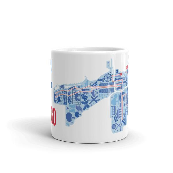 2018 Chicago Marathon Icons Map Mug