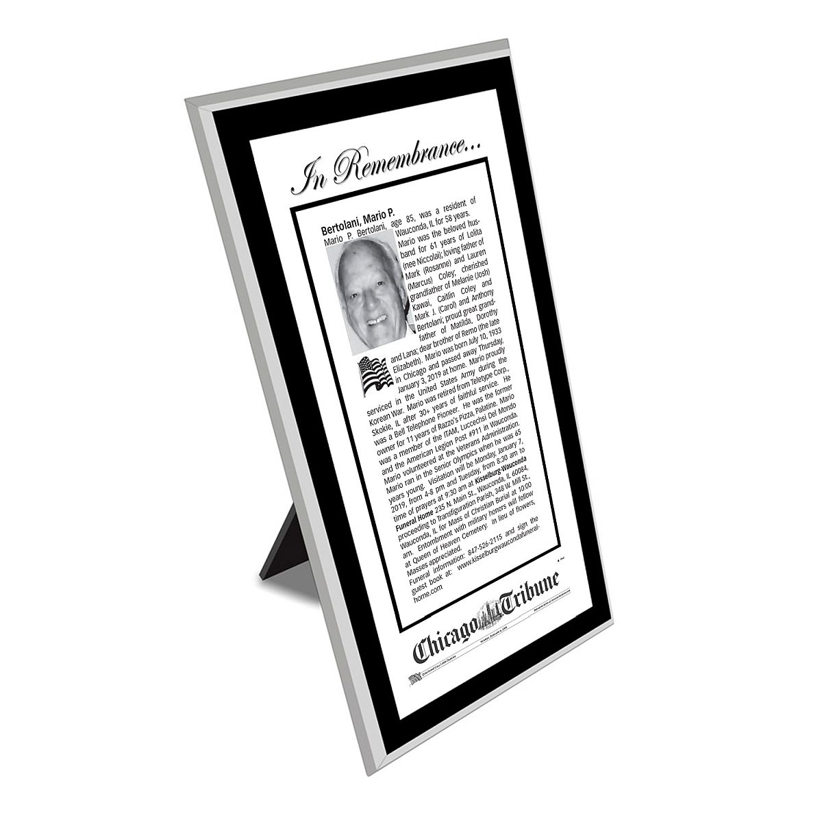 Chicago Tribune Keepsake Obituary Plaque