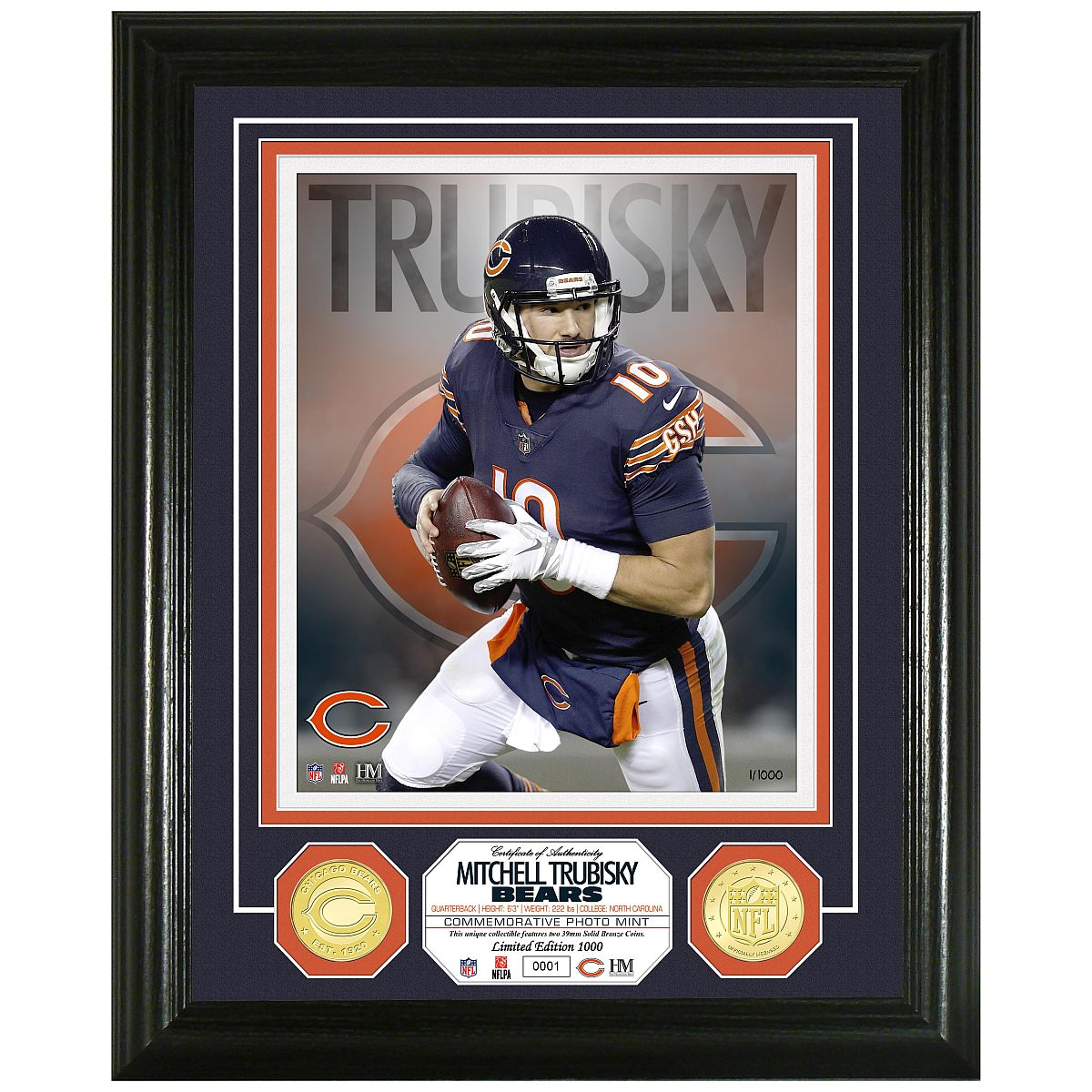 Mitch Trubisky Bronze Coin Photo Mint