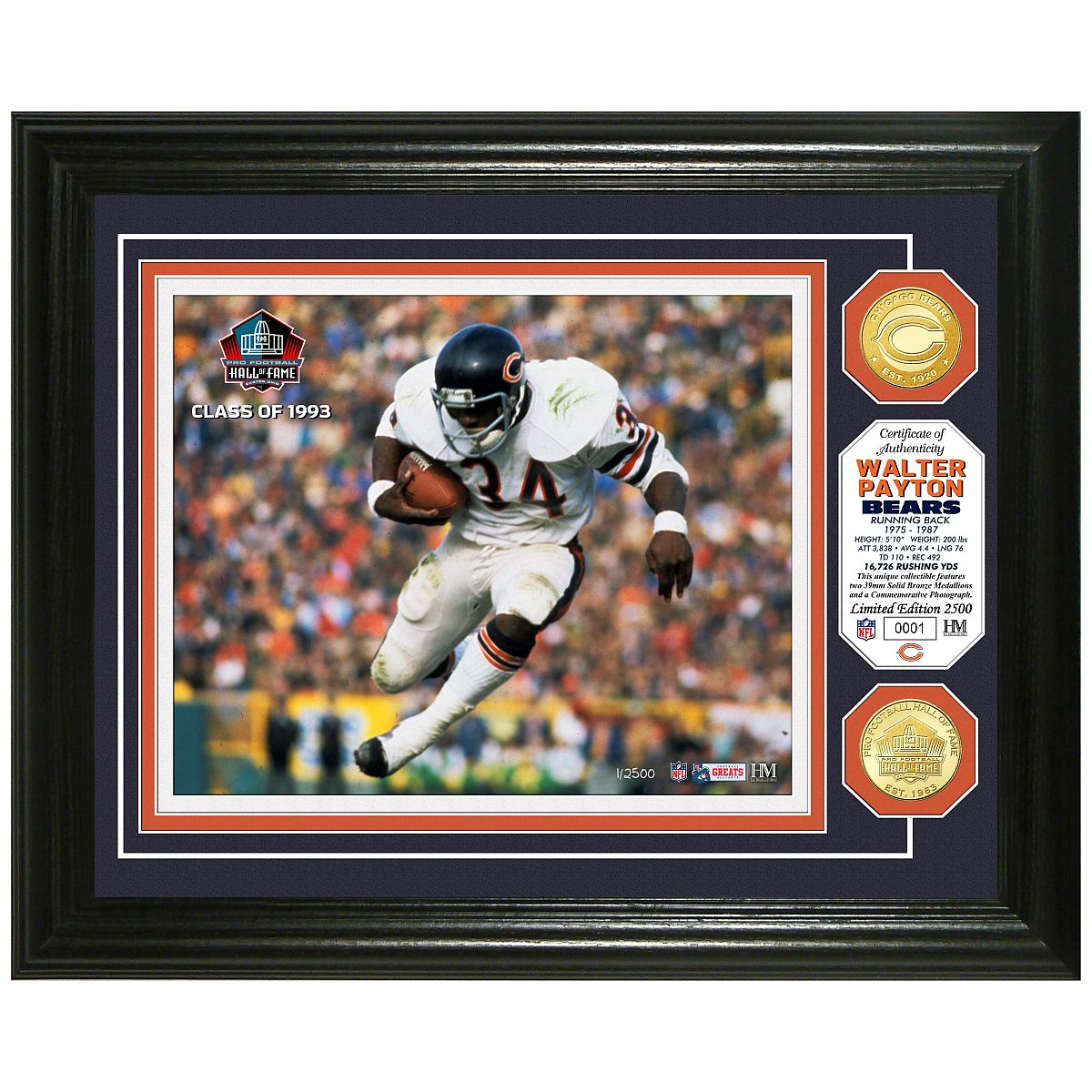 Walter Payton Pro Football Hall of Fame Bronze Coin Photo Mint