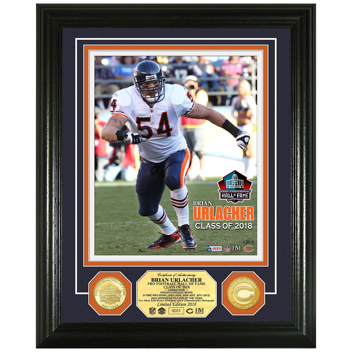 Brian Urlacher 2018 Pro Football Hall of Fame Induction Bronze Coin Photo Mint