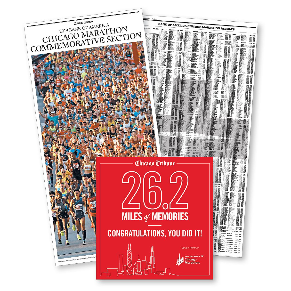 2019 Chicago Tribune Chicago Marathon Commemorative Results Package