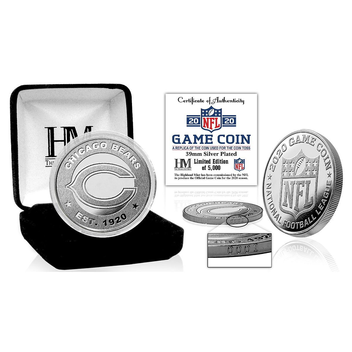 Chicago Bears 2020 Silver Mint Game Flip Coin