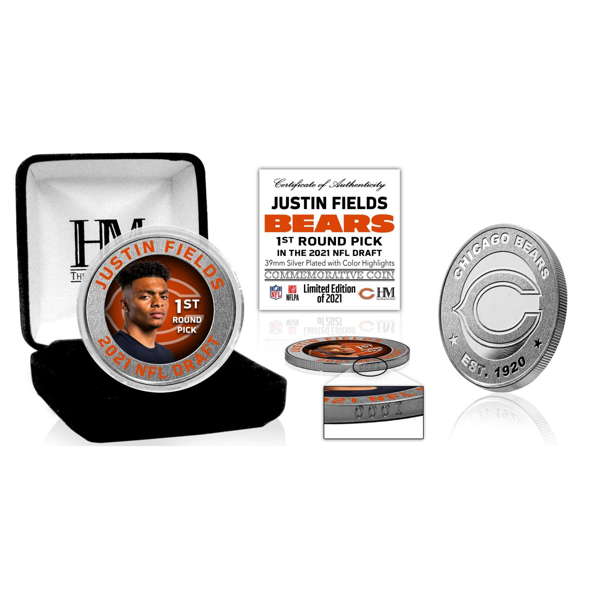 Justin Fields 2021 NFL Draft Silver Mint Coin