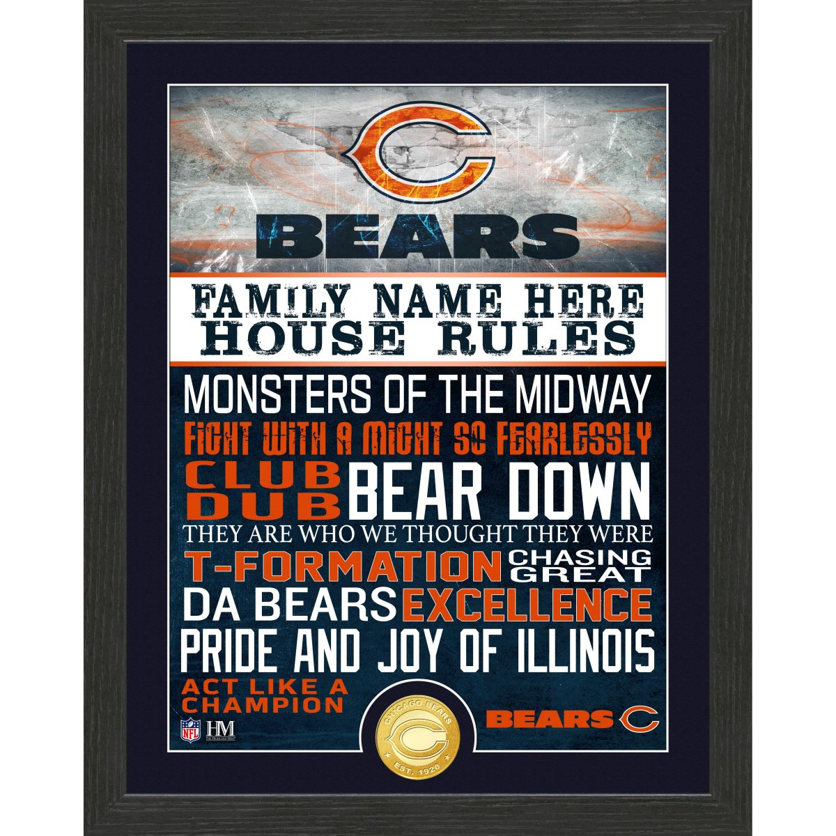 Personalized Chicago Bears House Rules Bronze Coin Photo Mint