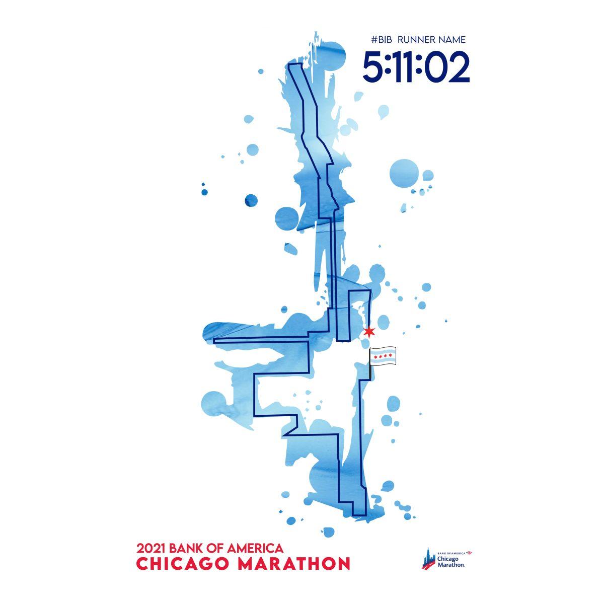 2021 Personalized Bank of America Chicago Marathon Map