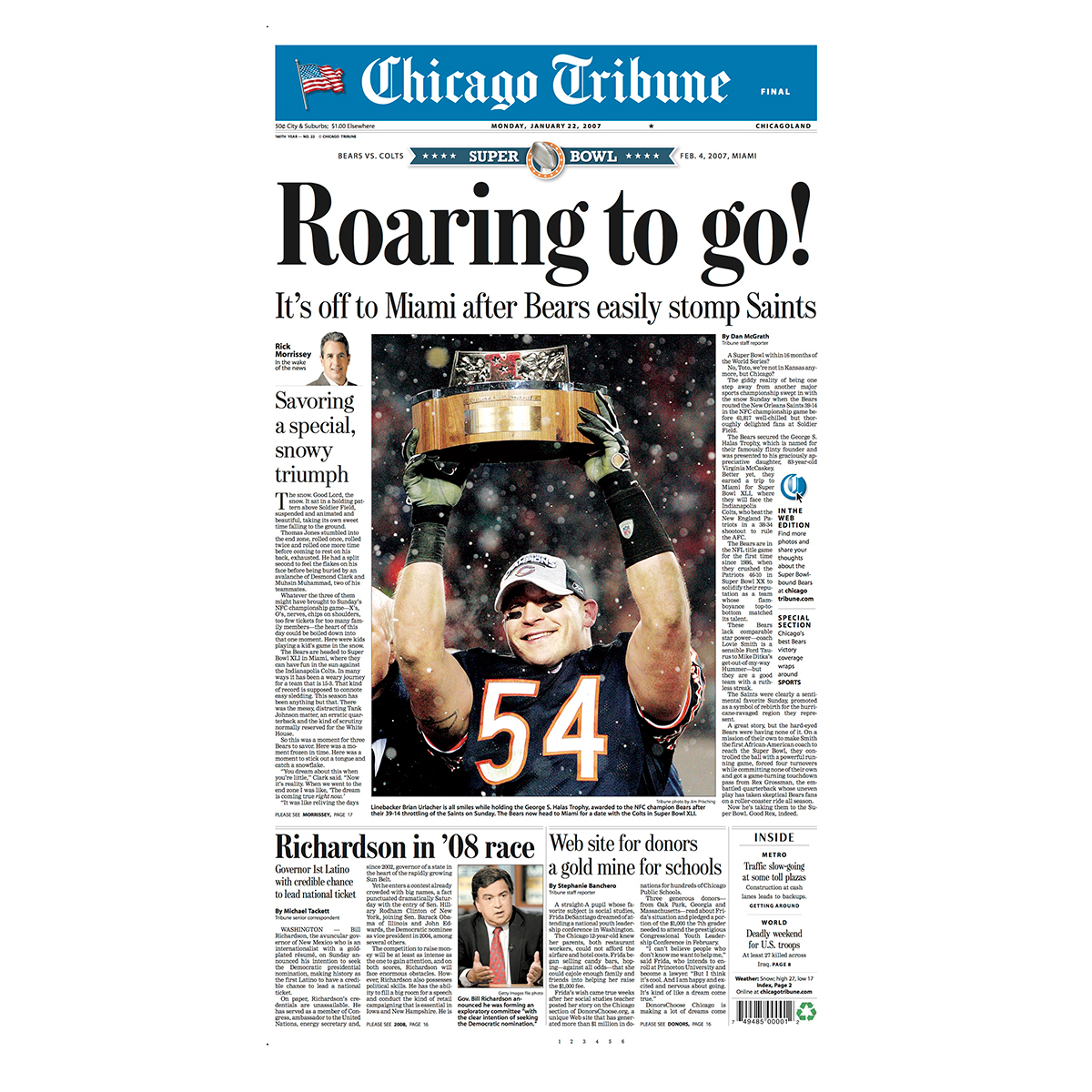 "Bears beat Saints ""Roaring To Go"" Front Page Poster"