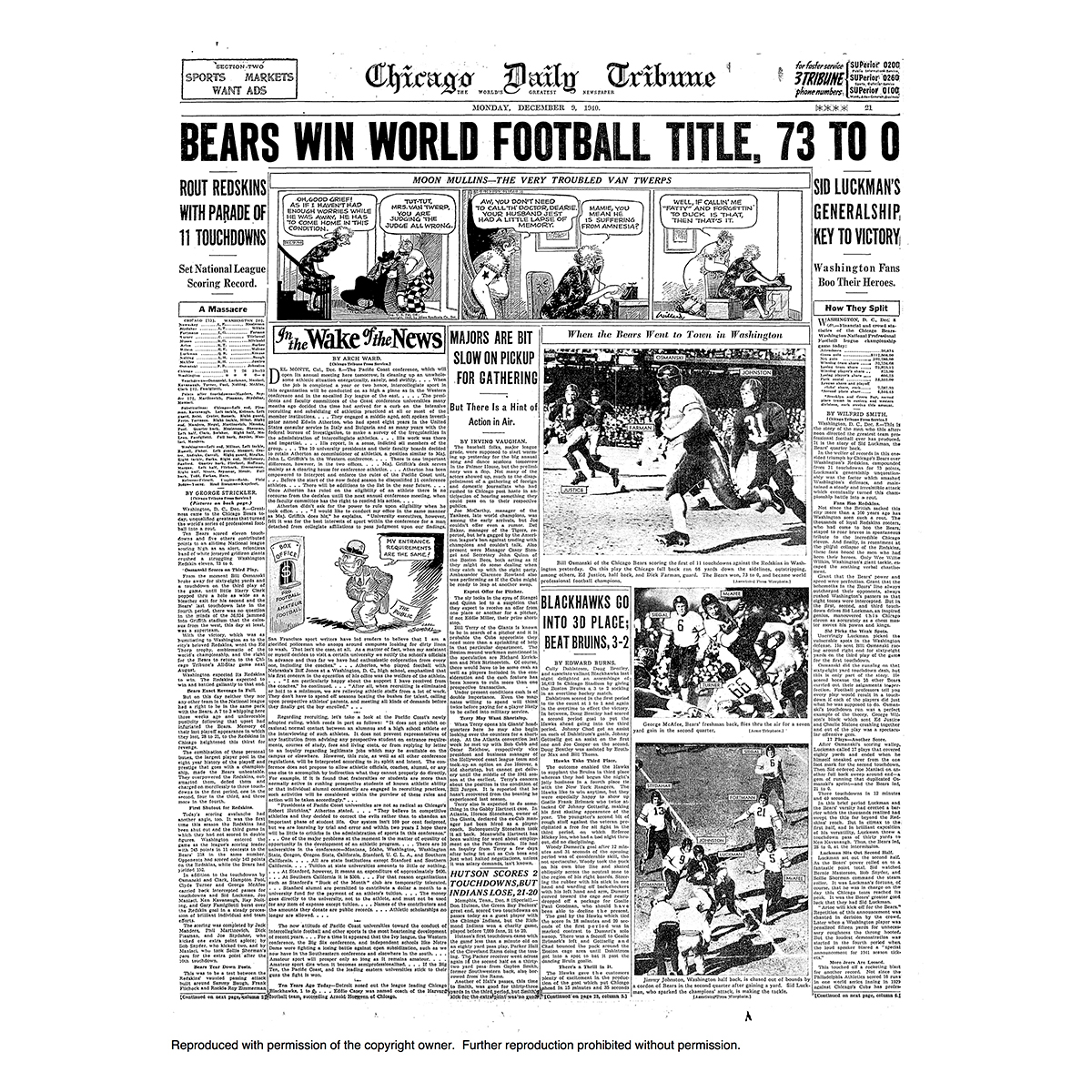 Chicago Bears Win World Football Title 73-0 - Tribune Front Page Poster