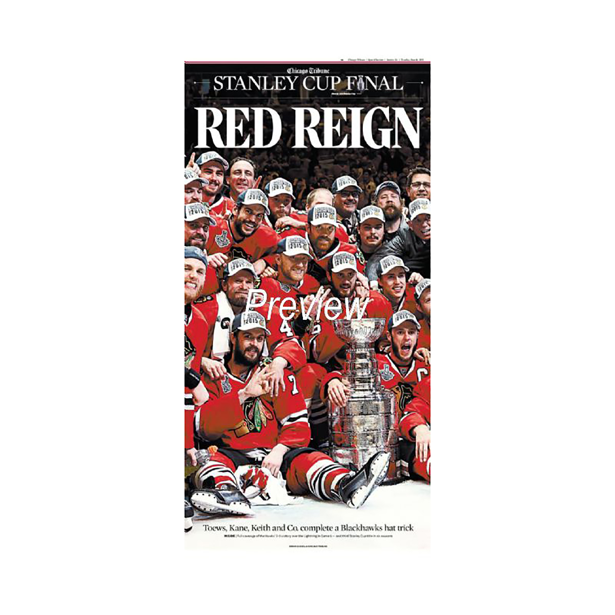 Chicago Blackhawks 2015 Stanley Cup Win 'RED REIGN' Front Page Poster