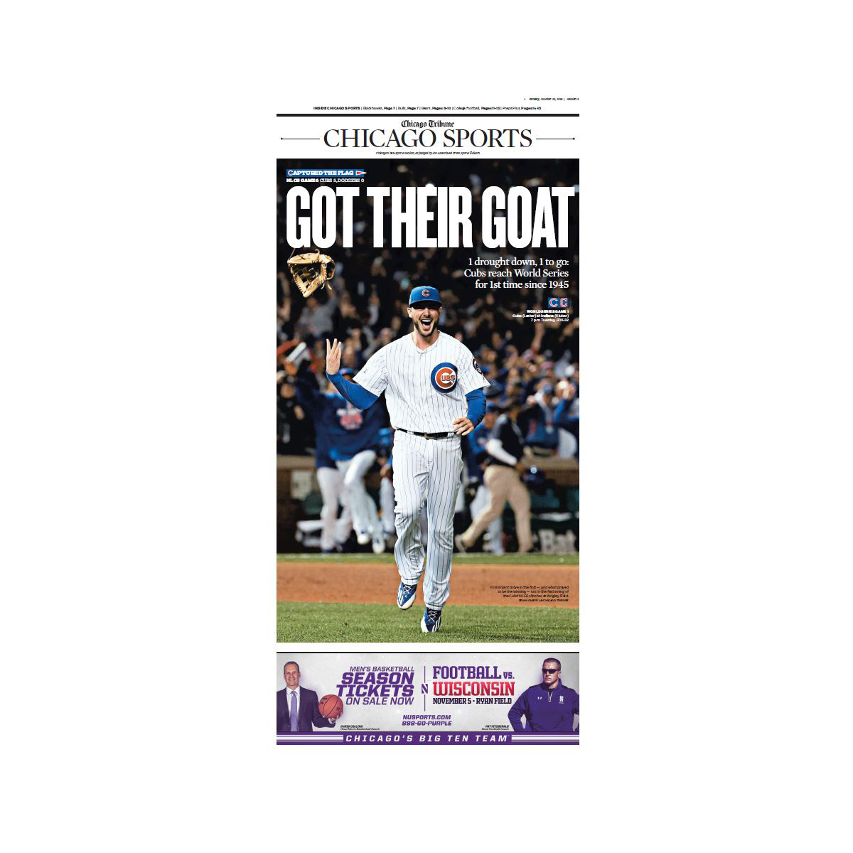 Chicago Cubs 2016 NLCS Champions Sports Front Page Poster