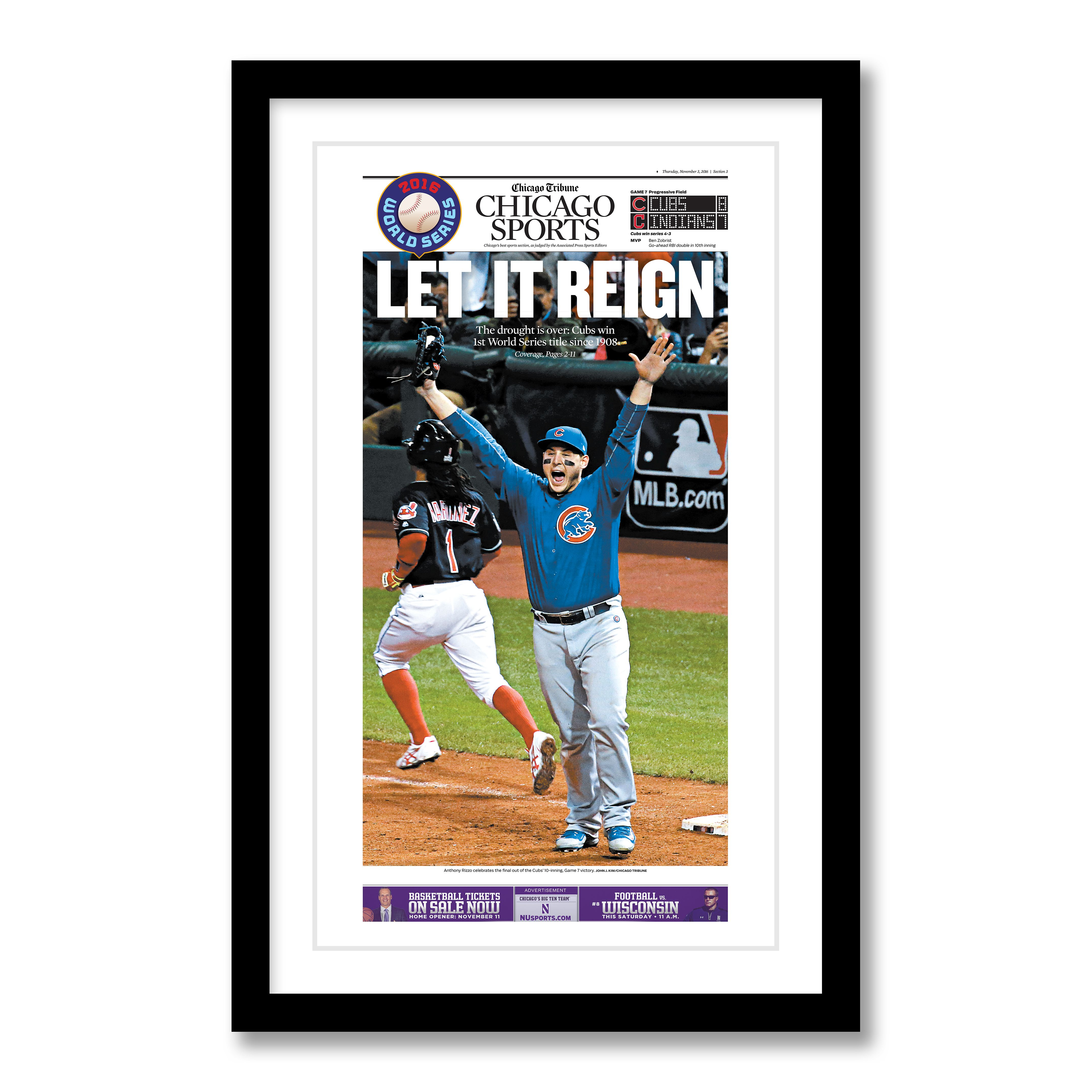 Chicago Cubs World Series Sports Section Front Page Poster 11/3/2016