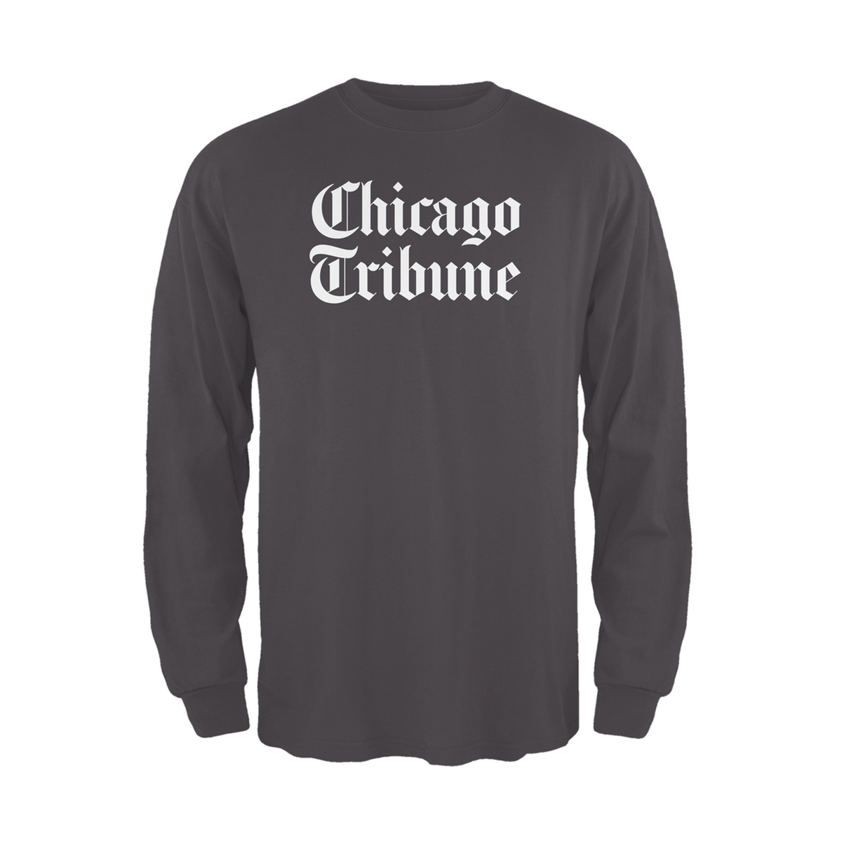 Chicago Tribune Stacked Logo Dark Grey Unisex Adult Long Sleeve T-Shirt