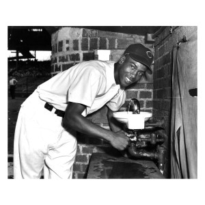 Ernie Banks Fountain Drinks 1955 Photograph